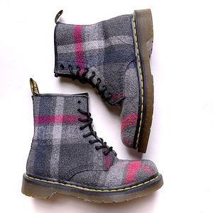 Dr Martens Plaid Mohair Castle Boots 6